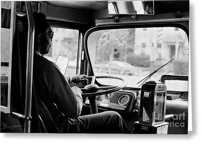 Steering Greeting Cards - Retro Bus Driver Greeting Card by Tom Brickhouse
