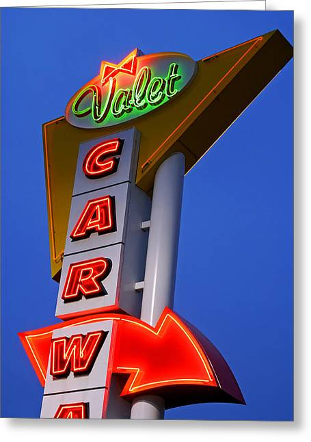 Vertcal Greeting Cards - Retro Car Wash Sign Greeting Card by Norman Pogson