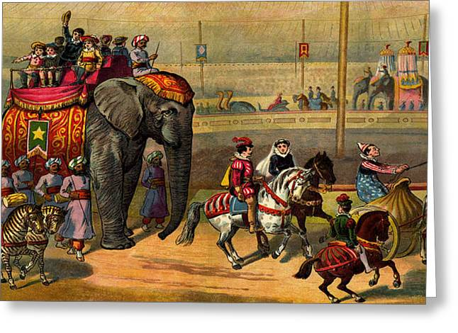 Large Format Animal Print Greeting Cards - Retro Circus elephant zebra horse giraffe parade Greeting Card by Private Collection
