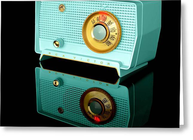 Sixties Music Greeting Cards - Retro Classic Table Radio Greeting Card by Jim Hughes