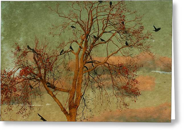 Crows In Trees Greeting Cards - Retro Clouds Greeting Card by Gothicolors Donna Snyder