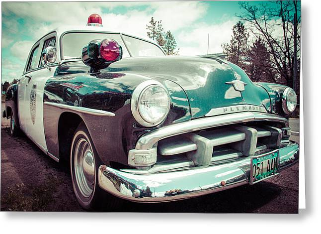 Police Cruiser Greeting Cards - Retro Cop 2 Greeting Card by Takeshi Okada