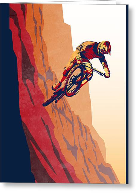 Stencil Art Greeting Cards - Retro cycling fine art poster Good to the Last Drop Greeting Card by Sassan Filsoof