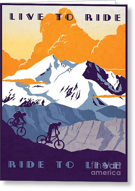 Rocky Mountain Posters Greeting Cards - retro cycling poster Live to Ride Ride to Live  Greeting Card by Sassan Filsoof
