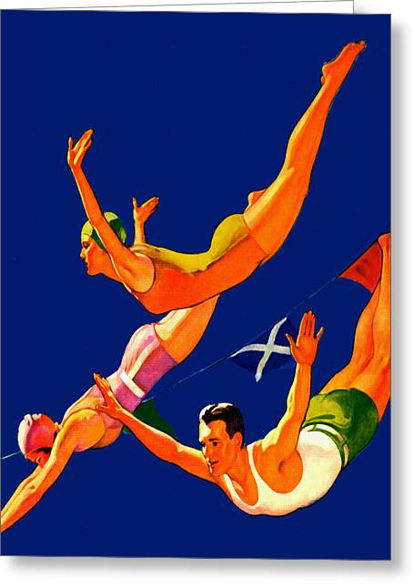 Palms Greeting Cards - Retro Cliff Divers - At the Beach America Greeting Card by Private Collection