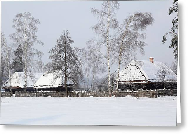 Old Barns Greeting Cards - Retro farmhouse winter Greeting Card by Ryszard Sarama