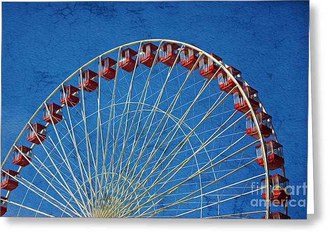 Amusements Greeting Cards - Retro Ferris Wheel Greeting Card by Laura D Young