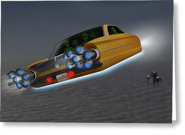Alien Digital Greeting Cards - Retro Flying Object 1 Greeting Card by Mike McGlothlen