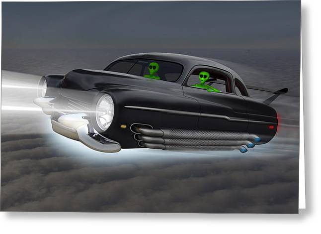 Imaginative Art Greeting Cards - Retro Flying Objects 2 Greeting Card by Mike McGlothlen