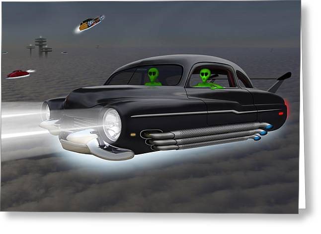 Spacecraft Greeting Cards - Retro Flying Objects 4 Greeting Card by Mike McGlothlen