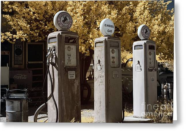 Western Script Greeting Cards - Retro Gas Pumps Greeting Card by Keith Kapple