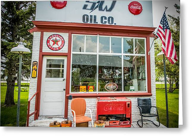 Op Art Photographs Greeting Cards - Retro Gas Station Greeting Card by Paul Freidlund