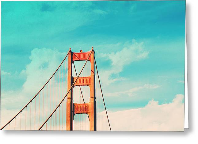 Golden Gate Greeting Cards - Retro Golden Gate - San Francisco Greeting Card by Melanie Alexandra Price