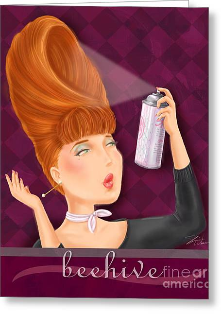 Makeup Greeting Cards - Retro Hairdos-Beehive Greeting Card by Shari Warren