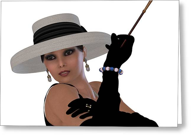 Cigarette Holder Greeting Cards - Retro Hollywood Glamour Greeting Card by Corey Ford