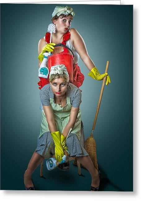 Housewife Greeting Cards - Retro Housewives Greeting Card by Erik Brede