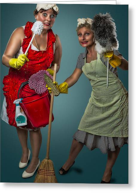 Housewife Greeting Cards - Retro Housewives II Greeting Card by Erik Brede