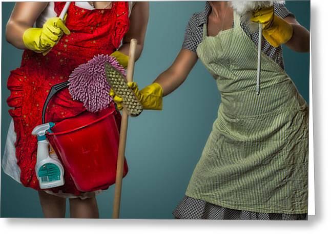 Retro Housewives II Greeting Card by Erik Brede