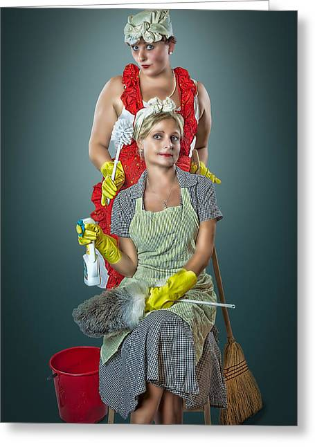 Wet Floor Greeting Cards - Retro Housewives Part III Greeting Card by Erik Brede
