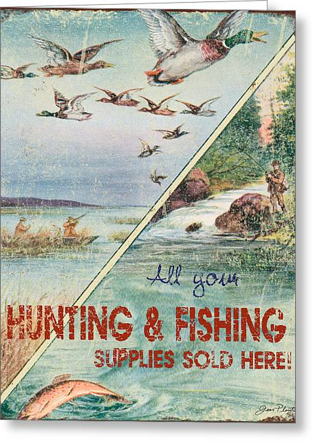 Ducks Digital Art Greeting Cards - Retro Hunting and Fishing Supply Sign Greeting Card by Jean Plout
