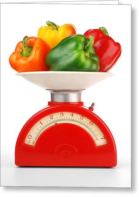 Paprika Greeting Cards - Retro Kitchen Scale Greeting Card by Jim Hughes
