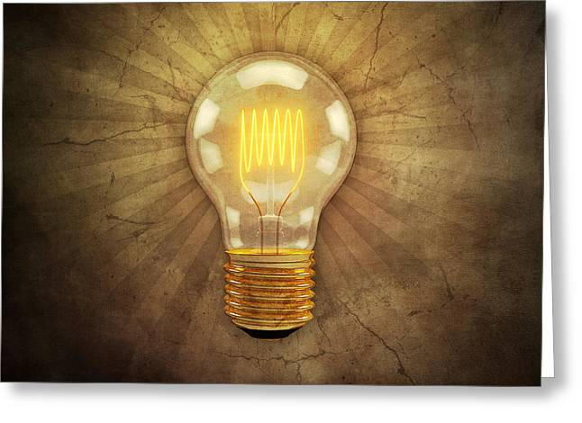 Shining Light Greeting Cards - Retro Light Bulb Greeting Card by Scott Norris