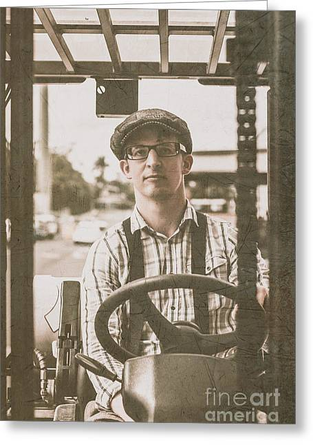 Driving Machine Greeting Cards - Retro man operating heavy lift machinery Greeting Card by Ryan Jorgensen