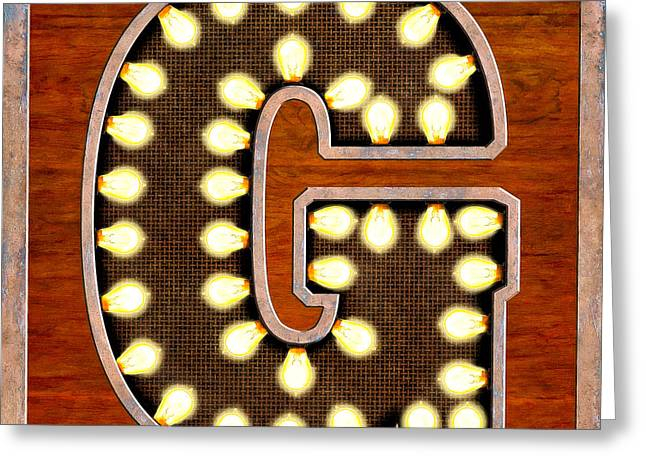 Quirky Greeting Cards - Retro Marquee Lighted Letter G Greeting Card by Mark Tisdale