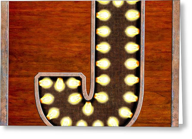 Letter J Greeting Cards - Retro Marquee Lighted Letter J Greeting Card by Mark Tisdale