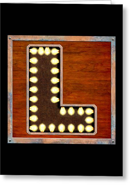 Edison Greeting Cards - Retro Marquee Lighted Letter L Greeting Card by Mark E Tisdale