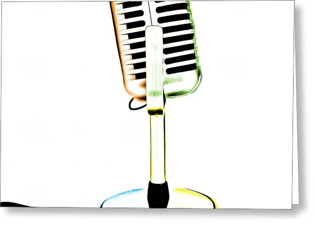 Pop Photographs Greeting Cards - Retro Microphone Pop Art 1 Greeting Card by Edward Fielding