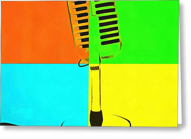 Pop Photographs Greeting Cards - Retro Microphone Pop Art 2 Greeting Card by Edward Fielding