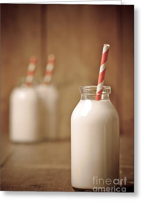 Milk Photographs Greeting Cards - Retro Milk Bottle Greeting Card by Amanda And Christopher Elwell