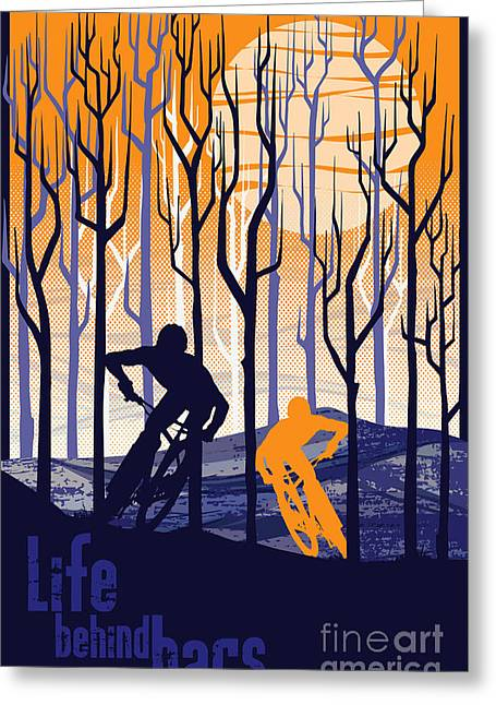 Motivational Poster Greeting Cards - Retro Mountain Bike Poster Life Behind Bars Greeting Card by Sassan Filsoof