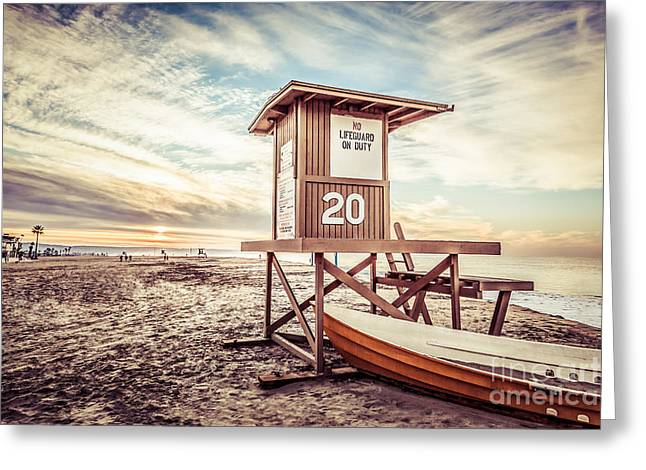 Shack Greeting Cards - Retro Newport Beach Lifeguard Tower 20 Picture Greeting Card by Paul Velgos