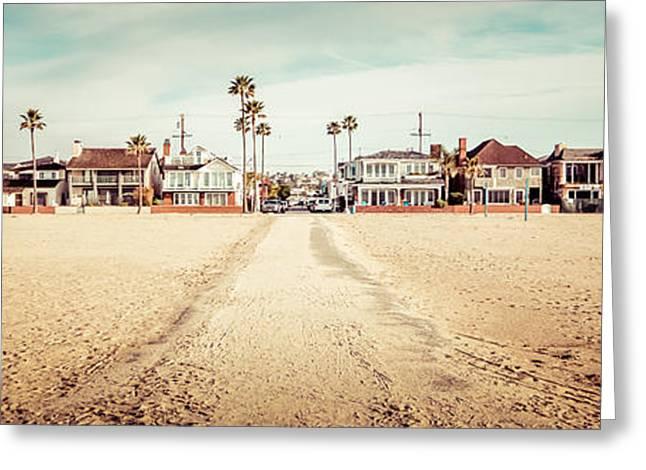 Retro Newport Beach Panorama At 11th Street And Balboa Greeting Card by Paul Velgos