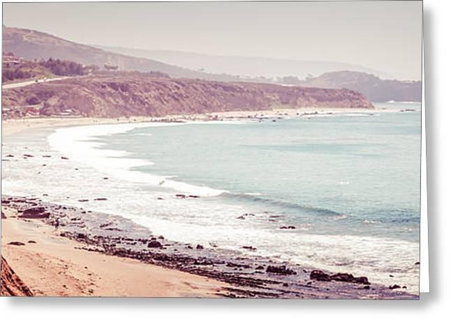 1970s Greeting Cards - Retro Panorama Photo of Laguna Beach California Greeting Card by Paul Velgos