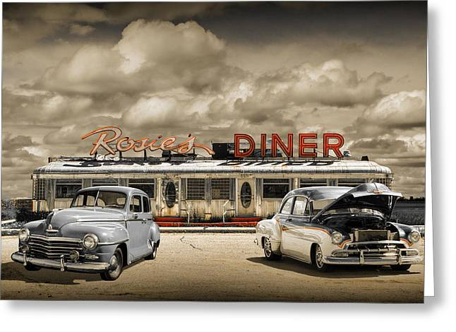 Rockford Greeting Cards - Retro Photo of Historic Rosies Diner with Vintage Automobiles Greeting Card by Randall Nyhof
