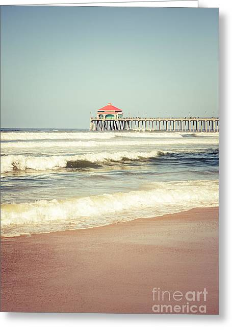 Historic City Pier Greeting Cards - Retro Photo of Huntington Beach Pier  Greeting Card by Paul Velgos
