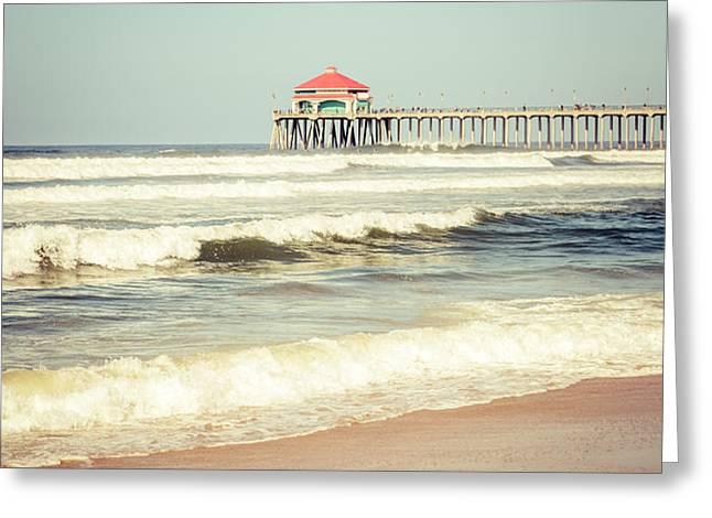 Retro Photo of Huntington Beach Pier  Greeting Card by Paul Velgos