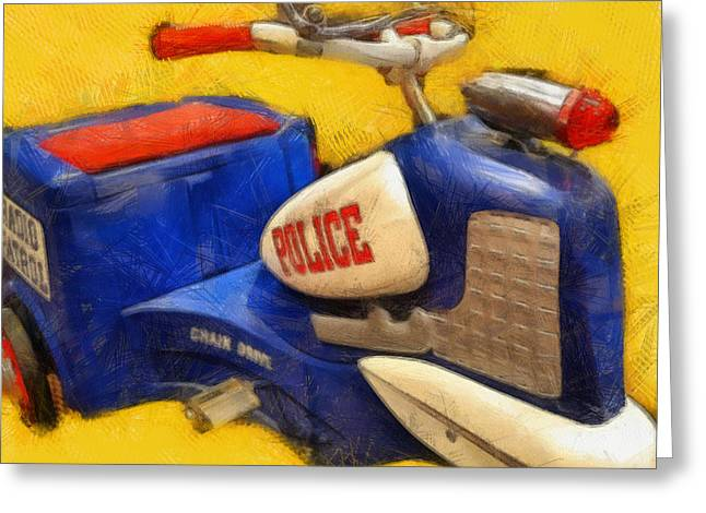Pedal Car Greeting Cards - Retro Police Tricycle Greeting Card by Michelle Calkins