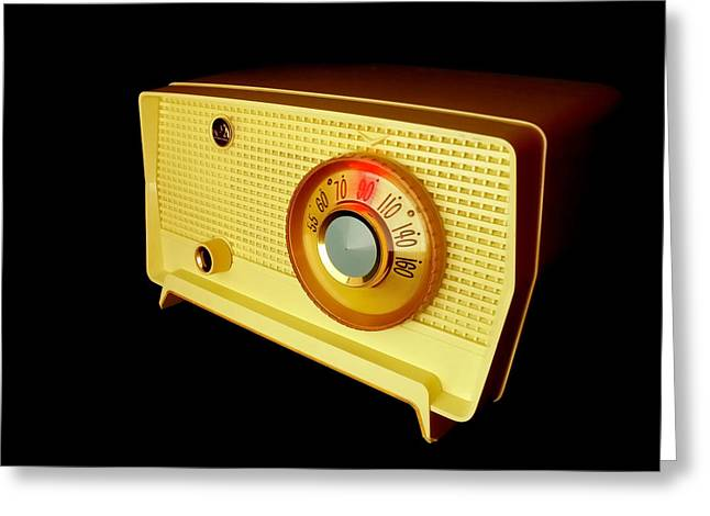 Sixties Music Greeting Cards - Retro Radio Greeting Card by Jim Hughes