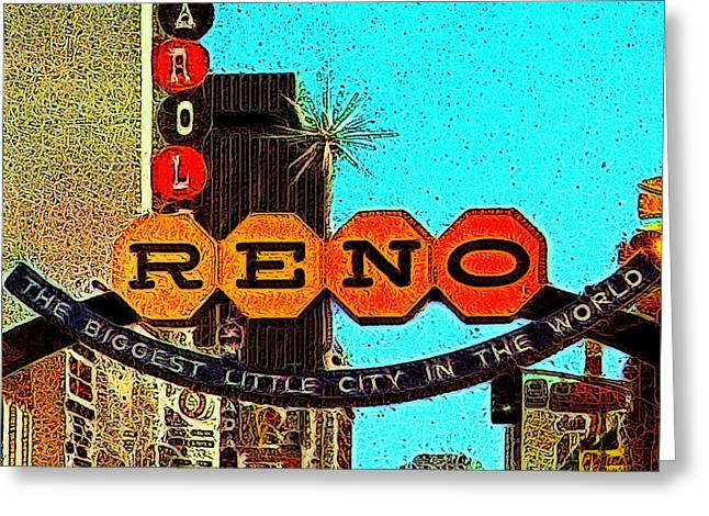 Sizes Greeting Cards - Retro Reno Nevada The Biggest Little City In The World 20130505v1 Greeting Card by Wingsdomain Art and Photography