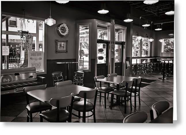 Sign In Florida Photographs Greeting Cards - Retro Restaurant in b/w Greeting Card by Greg Jackson