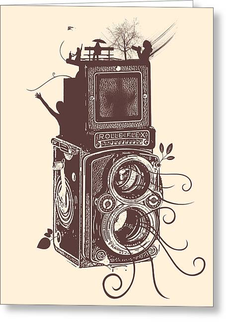 Top Selling Digital Art Greeting Cards - Retro Rolleiflex - Evolution of Photography Greeting Card by Denis Marsili