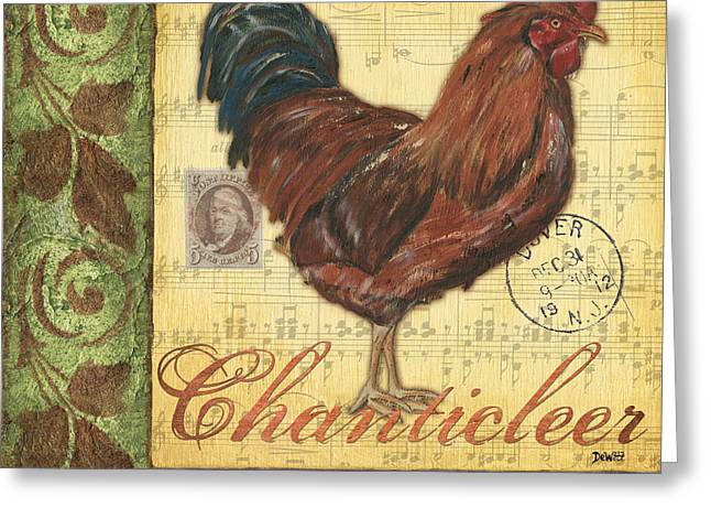 Wild Animals Paintings Greeting Cards - Retro Rooster 2 Greeting Card by Debbie DeWitt