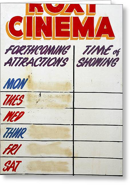 Roxy Greeting Cards - Retro Roxy Cinema sign Greeting Card by Steve Ball