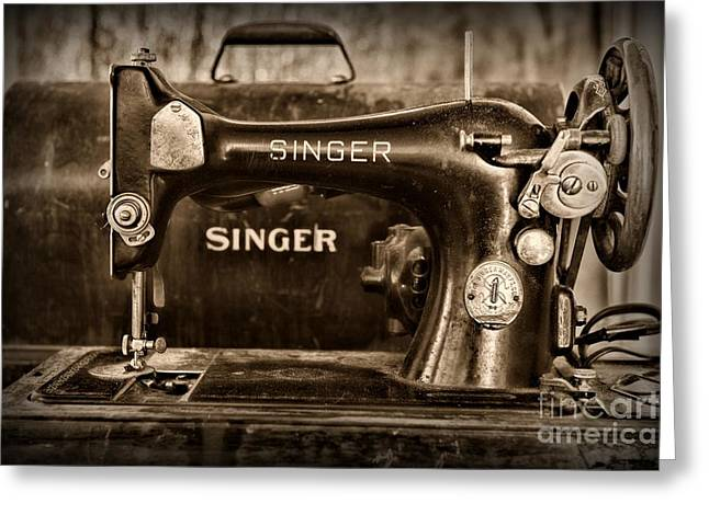 Sewing Hobby Greeting Cards - Retro Singer Sewing Machine Greeting Card by Paul Ward