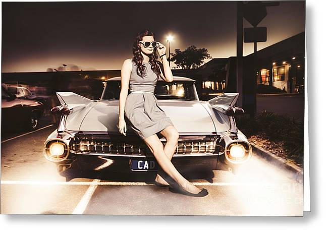 60s Hair Greeting Cards - Retro Sixties Pinup Girl On Vintage Car Greeting Card by Ryan Jorgensen