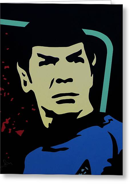 Uss Enterprise Paintings Greeting Cards - Retro Spock Greeting Card by Ian  King